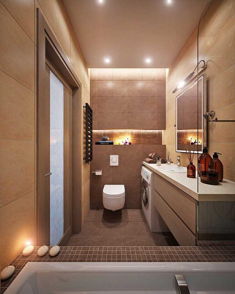 Подвесной унитаз в ванной с машинкой