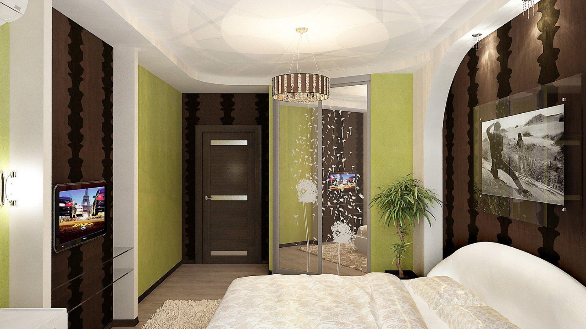 коричнево зеленая спальня фото