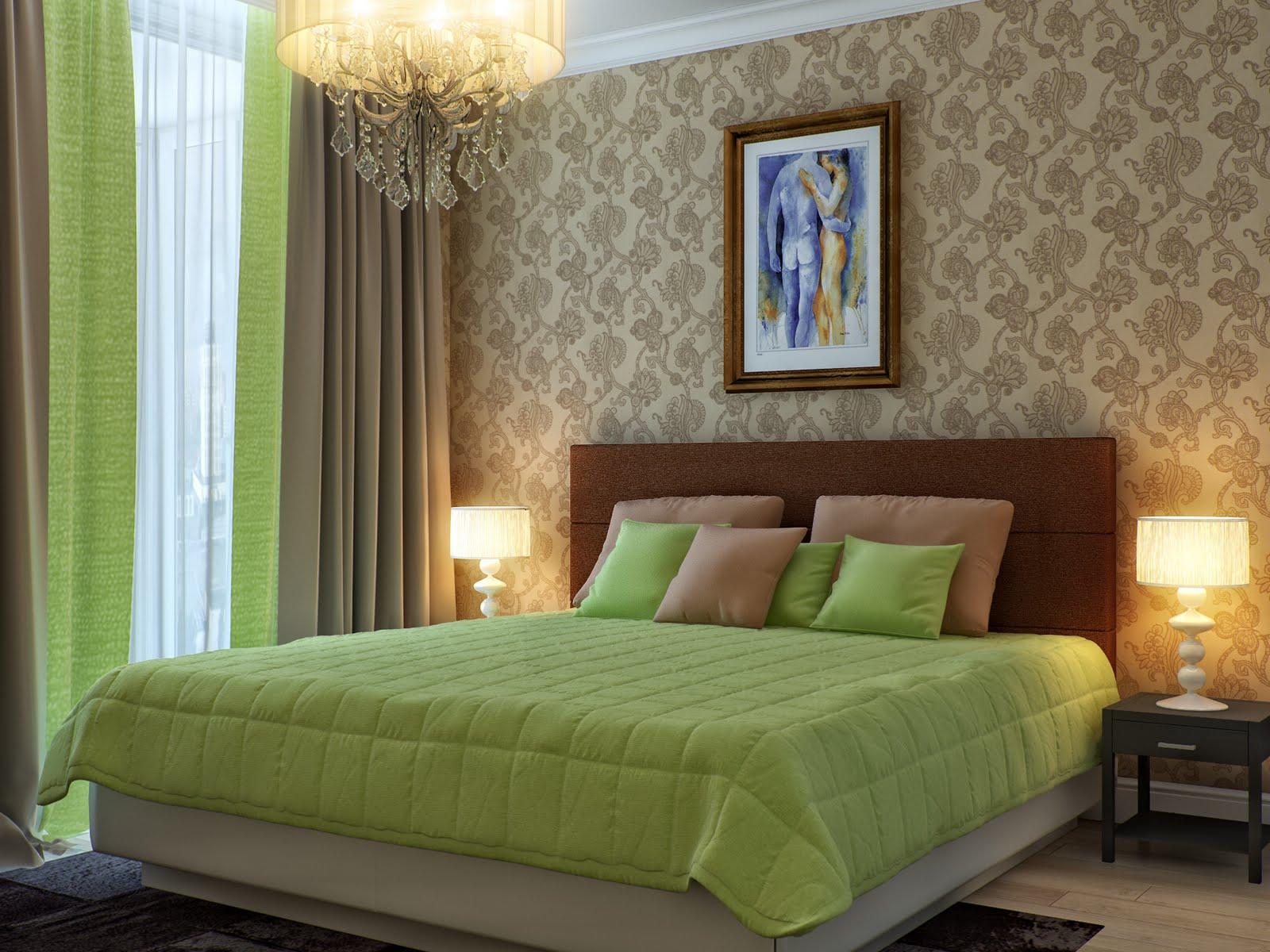 коричнево зеленая спальня