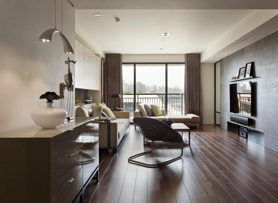 Коричневый цвет в дизайне трехкомнатной квартиры