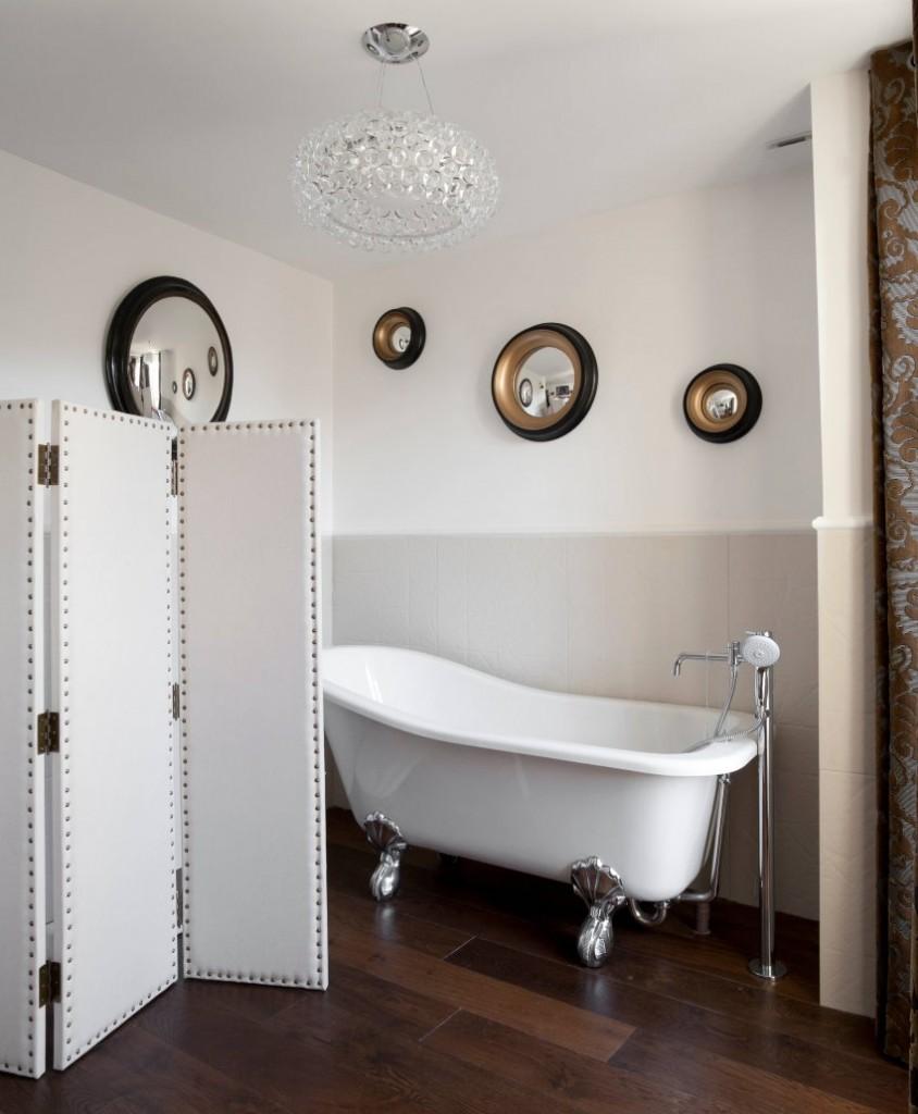Кожаная ширма в интерьере ванной комнаты
