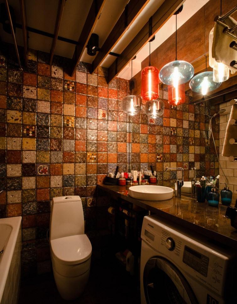 Красивая отделка ванной комнаты с машинкой
