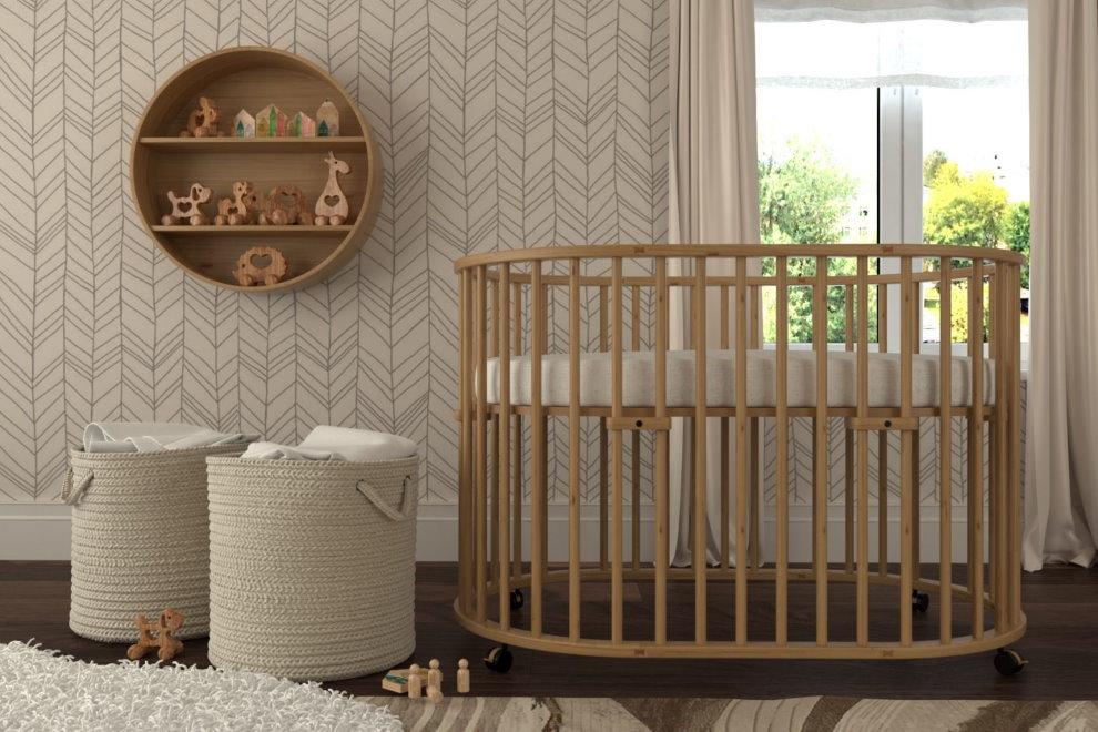 Кроватка для новорожденного из массива бука