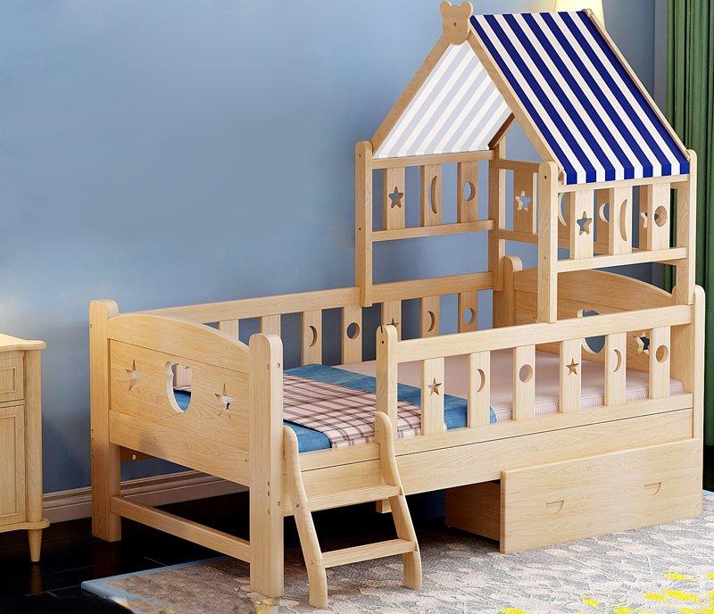 Детская деревянная кроватка-домик с перилами