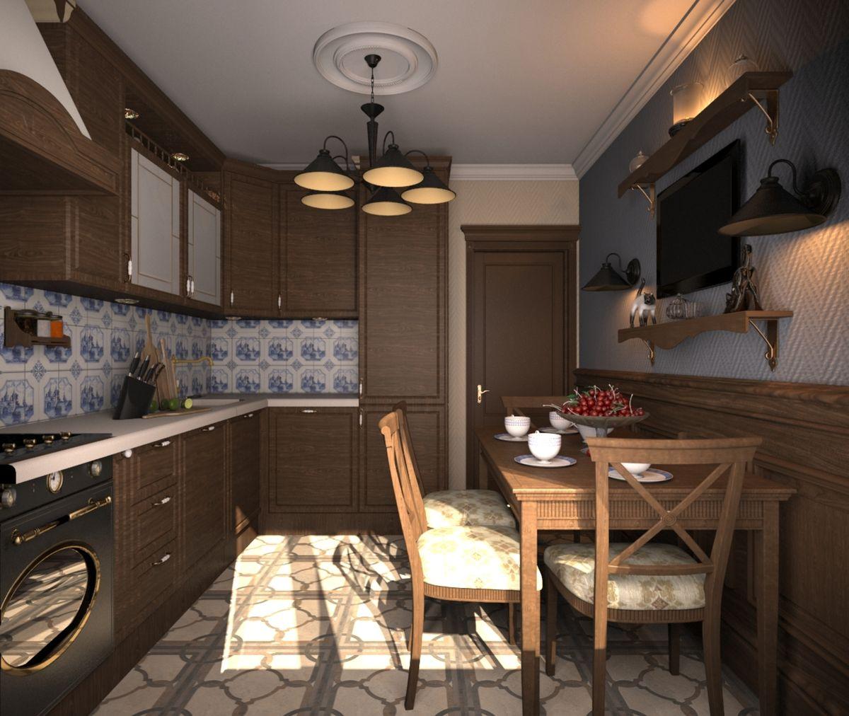 кухня 9 кв м английский стиль
