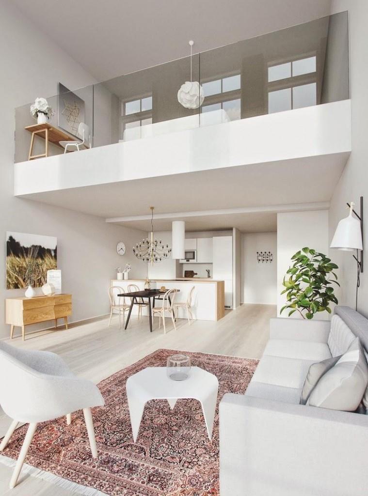 Интерьер двухуровневой квартиры в белом цвете