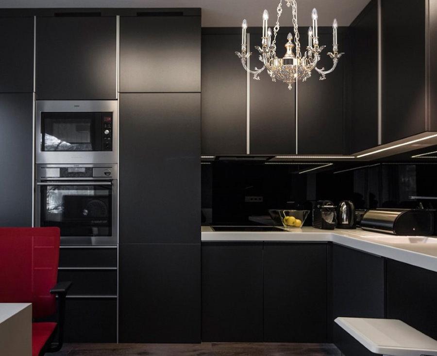 Кухня в квартире-студии одинокого мужчины