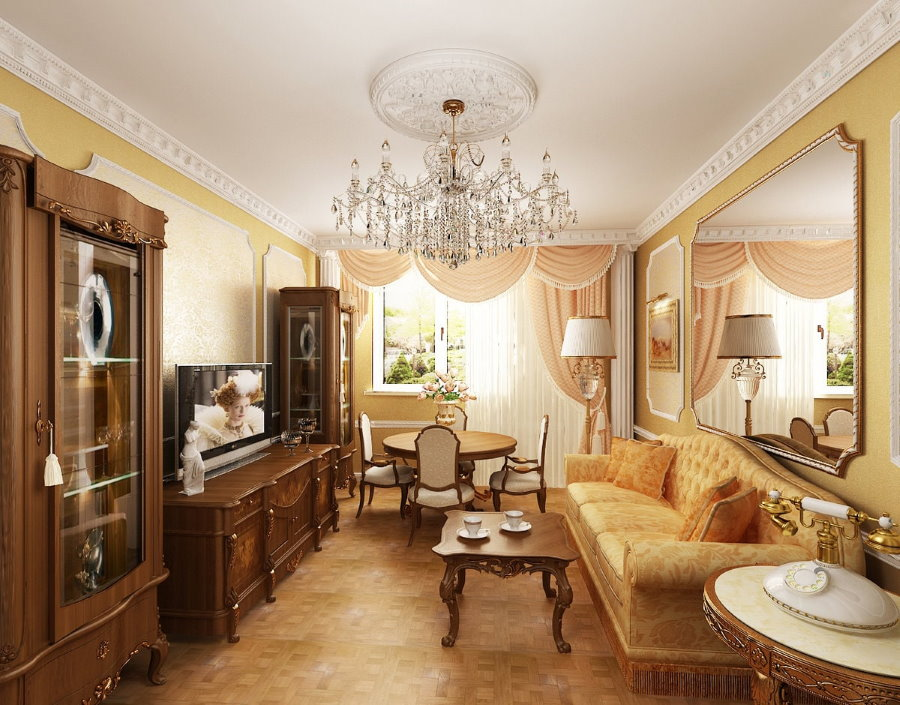 Классический интерьер в двухкомнатной квартире