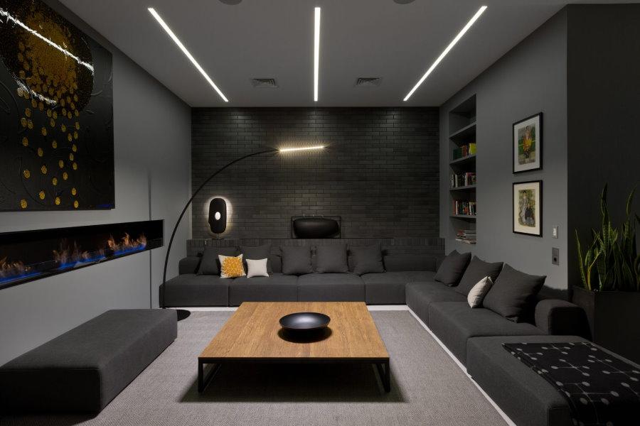 Интерьер квартиры холостяка в серых оттенках