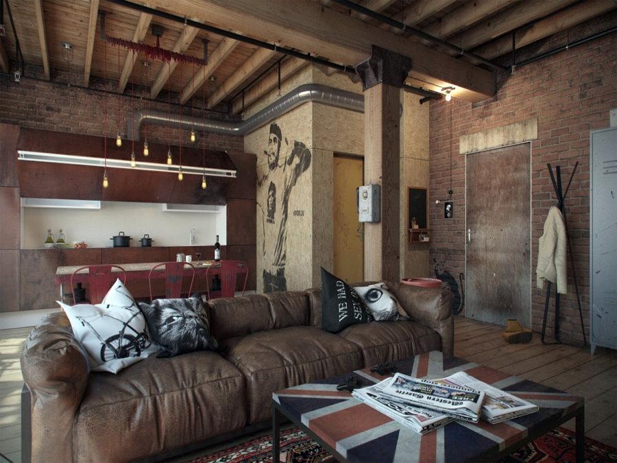 Кожаный диван в квартире студийной планировки