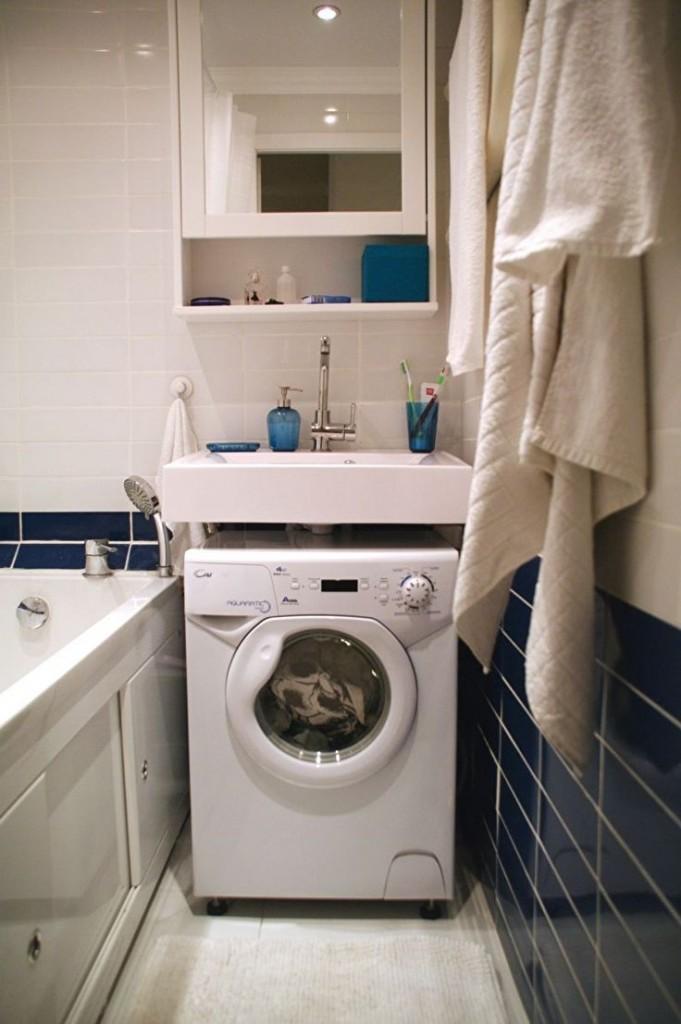 Узкая модель стиральной машинки под квадратной раковиной