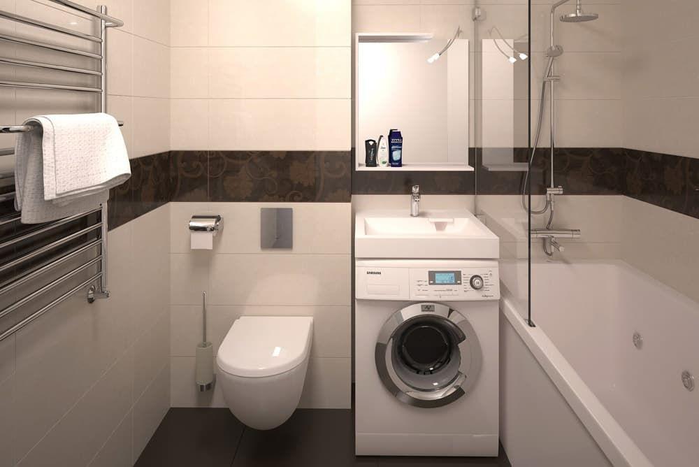 Стиральная машинка в ванной с унитазом