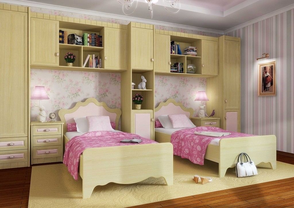 Модульная мебель в спальне девочек