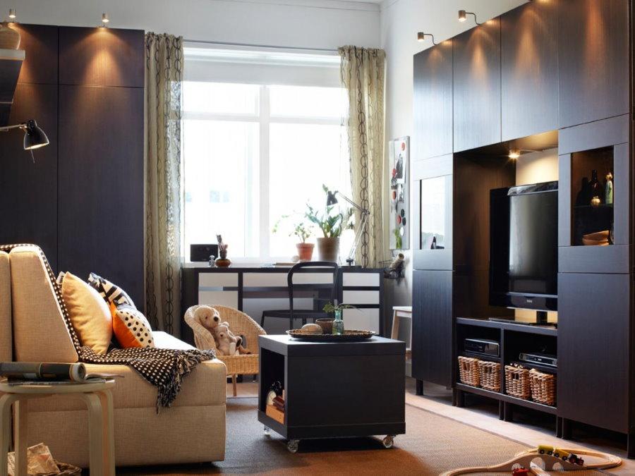 Меблировка гостиной в двухкомнатной квартире