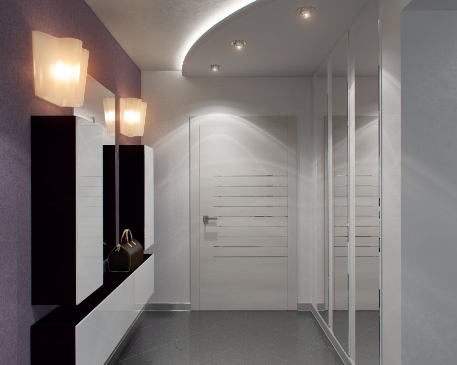 Подвесные шкафы в прихожей с двухуровневым потолком