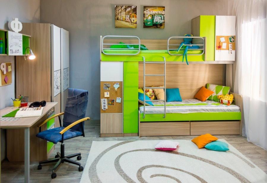 Модульная мебель в комнате для двоих детей