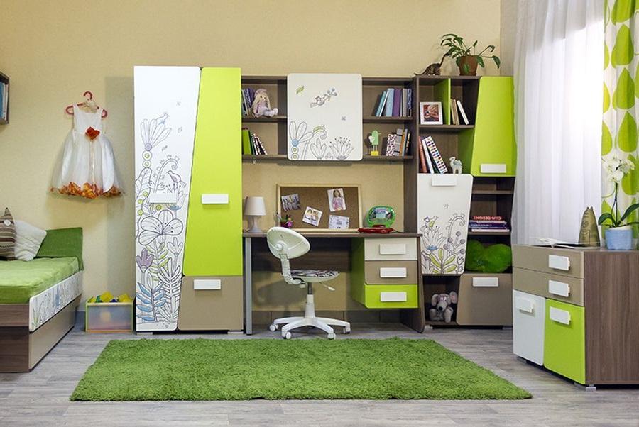 Модульная мебель в комнате школьницы