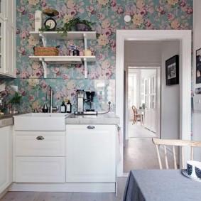 обои для маленькой кухни фото интерьер