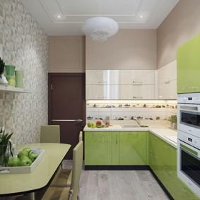 обои для маленькой кухни фото интерьера