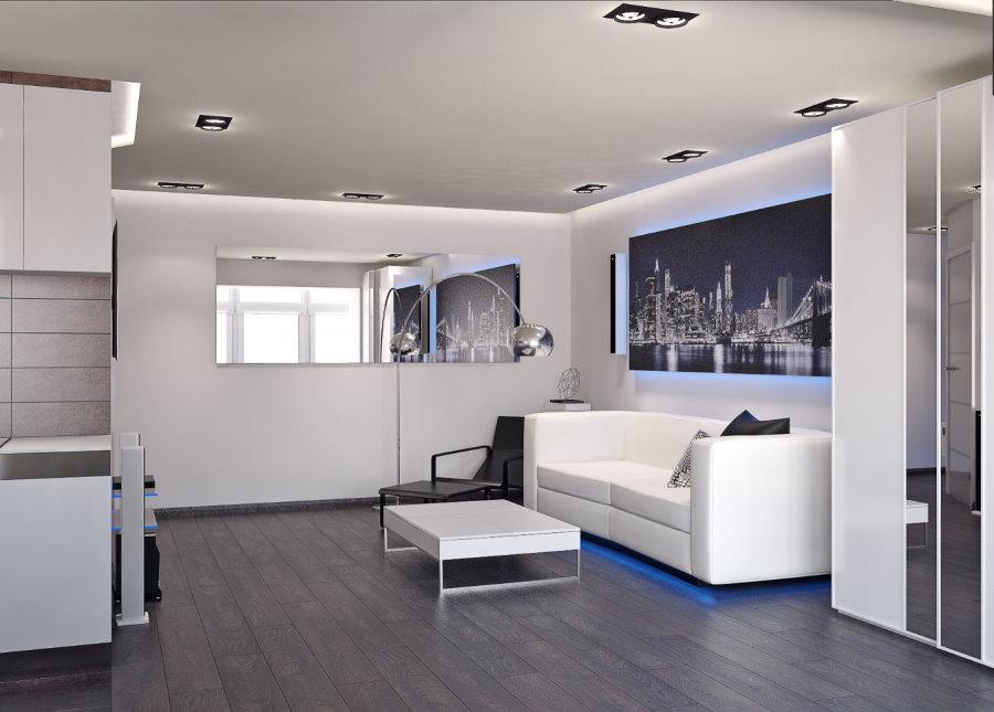 Гостиная зона квартиры-студии в стиле хай-тек