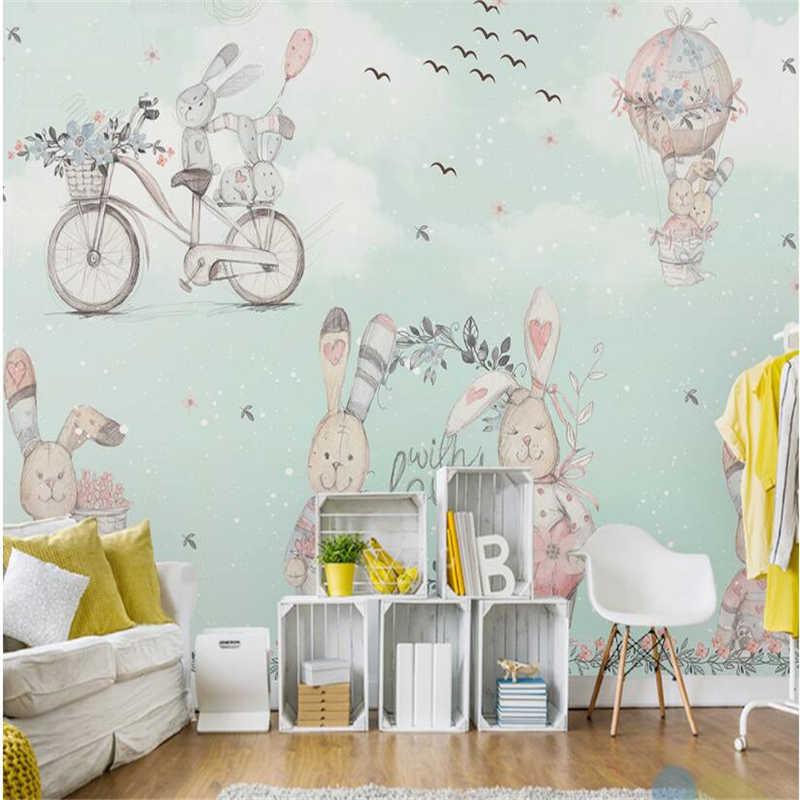 Детские обои с зайчиками и воздушными шарами