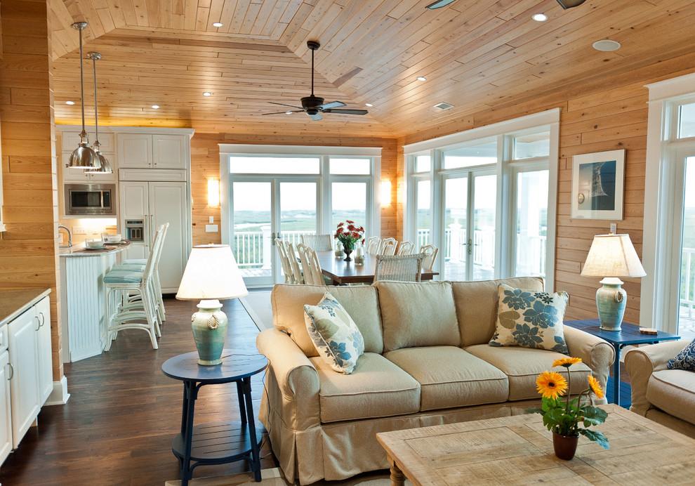 Освещение гостиной с деревянным потолком