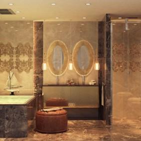 отделка пола в ванной комнате фото декор