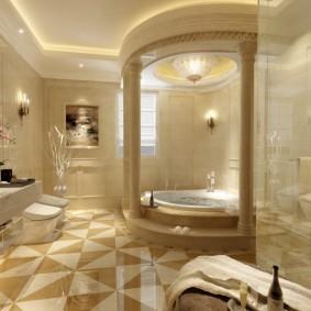 отделка пола в ванной комнате интерьер