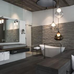 отделка пола в ванной комнате фото оформление
