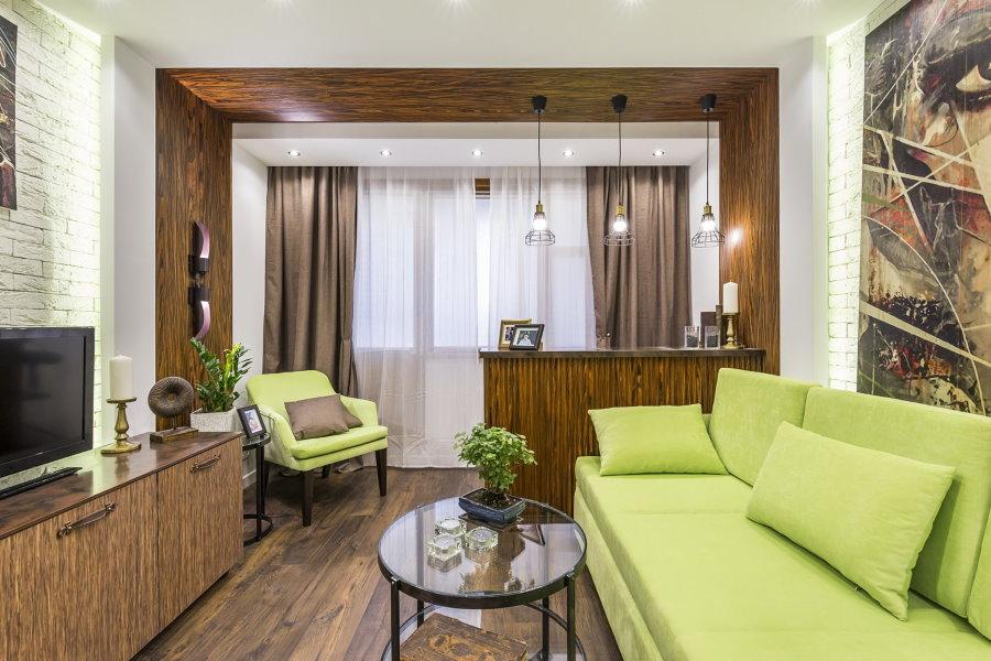 Стильная гостиная после перепланировки квартиры