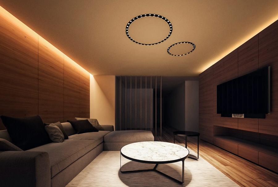 Парящий потолок в гостиной комнате