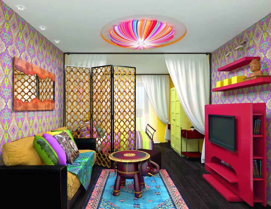 Декоративная ширма как элемент зонирования общей комнаты