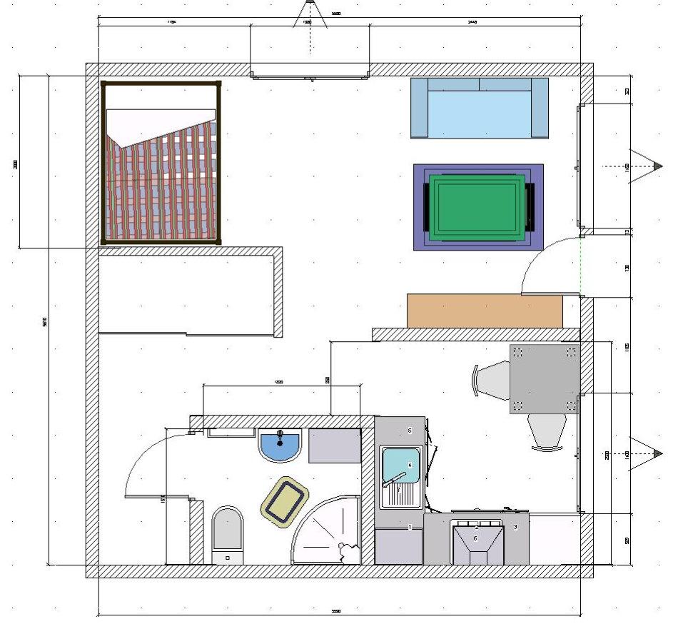 План с размещением мебели в однокомнатной хрущевке