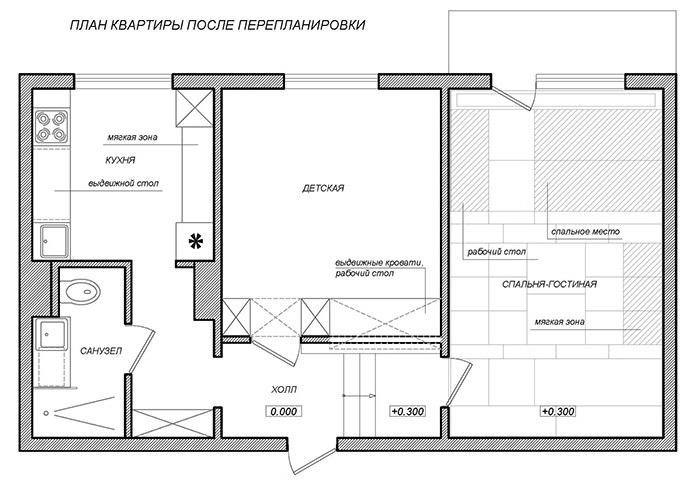Схема двухкомнатной квартиры после перепланировки