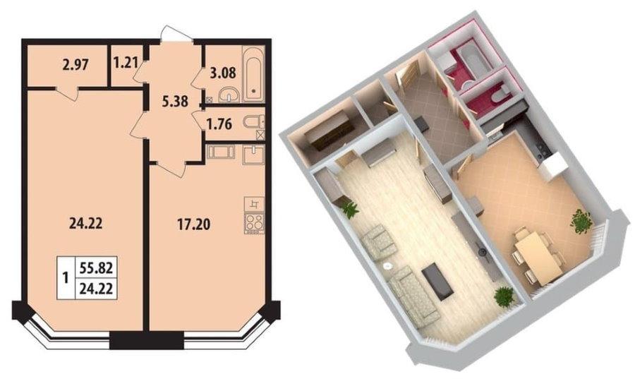 Проект двухкомнатной квартиры площадью 55 кв м