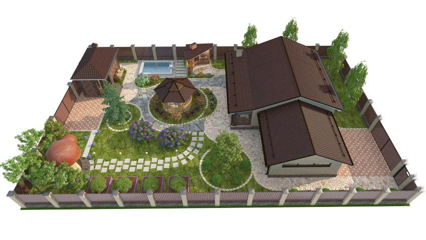 Схема прямоугольного участка с баней и бассейном