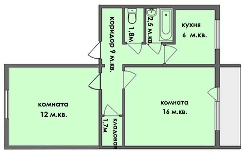Схема 2 комнатной брежневки с небольшой кухней