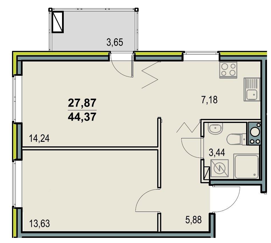 План двухкомнатной квартиры с санузлом совмещенного типа