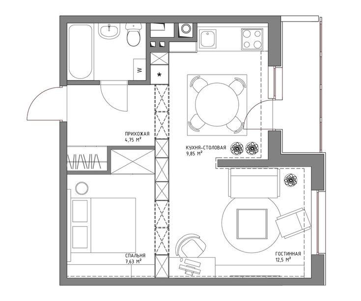 План однокомнатной квартиры площадью 44 кв метра