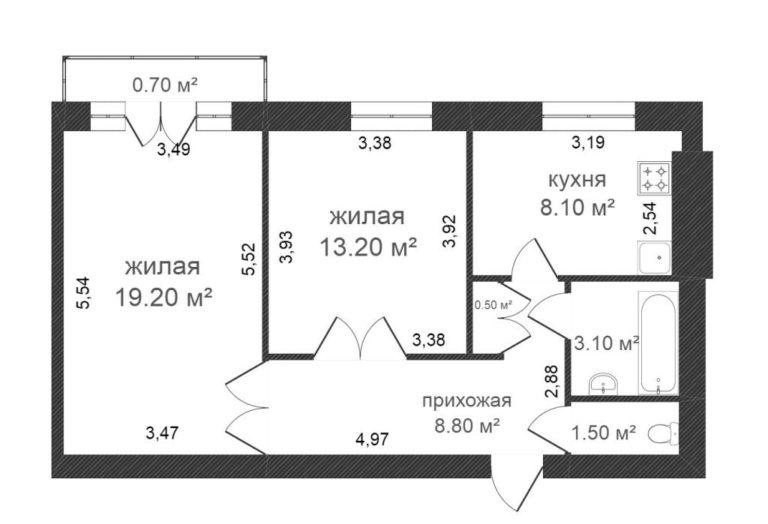 Схема двухкомнатной сталинки в доме из белого кирпича