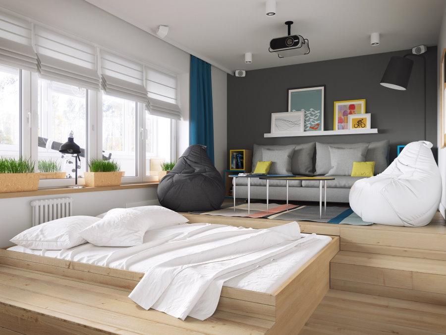 Кровать в подиуме однокомнатной квартиры