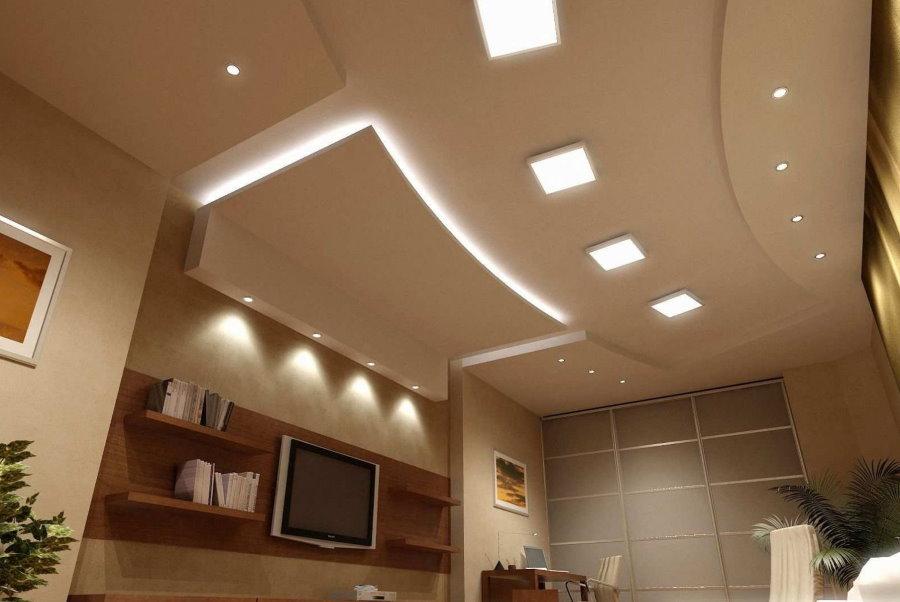 Организация освещения на многоуровневом потолке