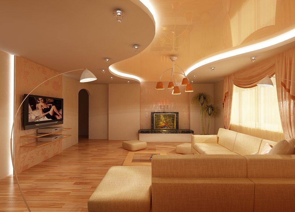 Натяжной потолок бежевого цвета с подсветкой