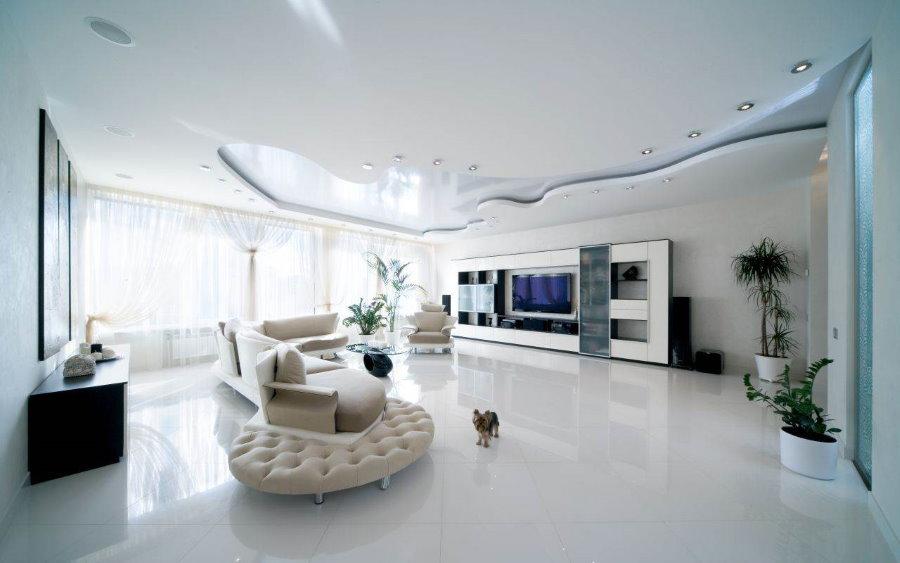 Подвесной потолок в квартире студийной планировки