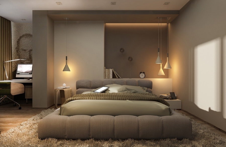 Прикроватные светильники в спальне современного стиля