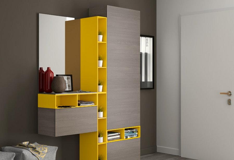 Желто-серые полки для прихожей в стиле хай-тек