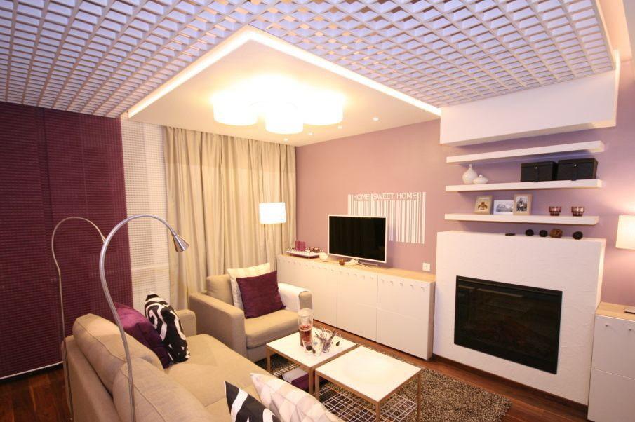 Потолок грильято в кухне гостиной современной квартиры