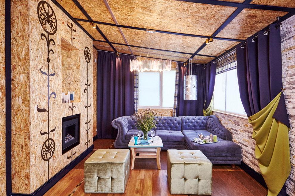 Пробковый потолок в интерьере гостиной комнаты