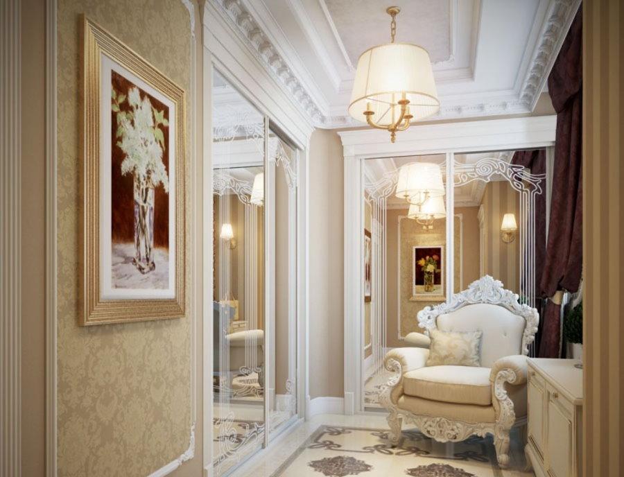 Мягкое удобное кресло в коридоре классического стиля