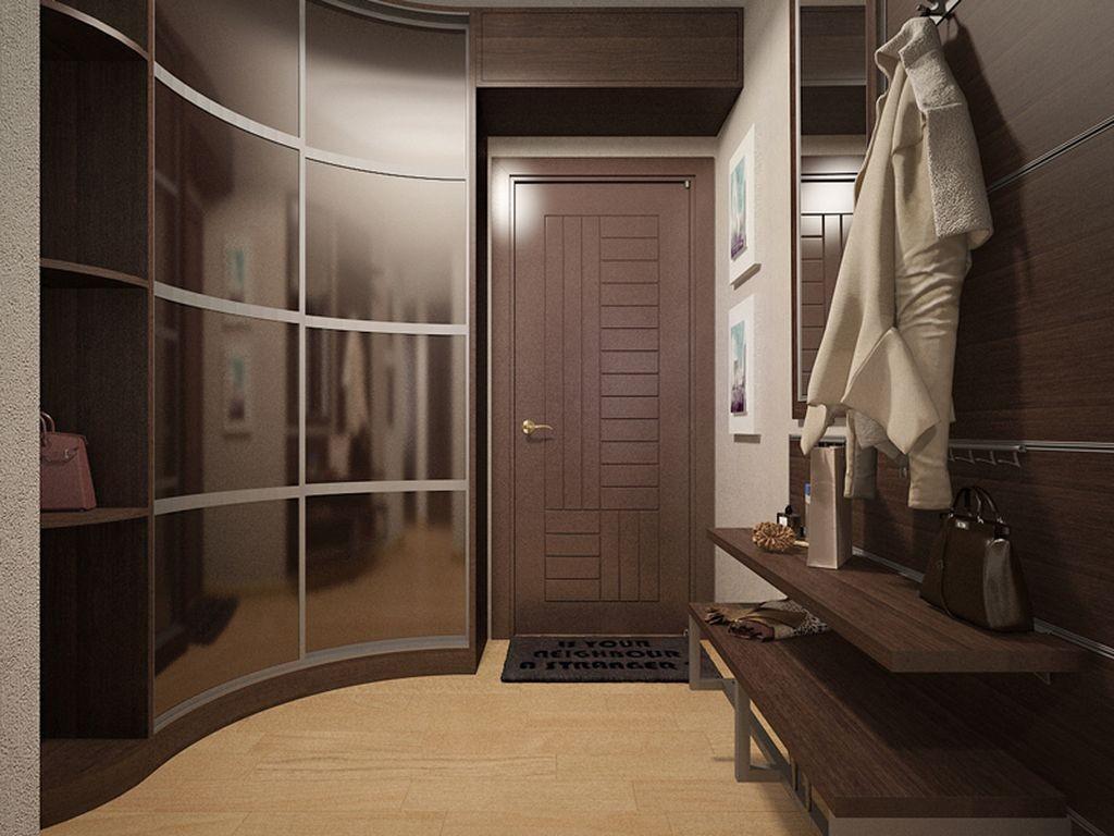 Радиусный шкаф в прихожей современной квартиры